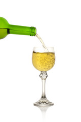 White Wine glass on white background