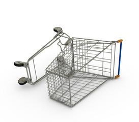 Single Fallen Empty Shopping Cart