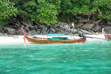 Traditional longtail boat in bay on Phi Phi Island,Thailand
