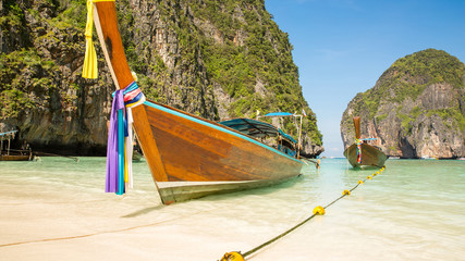 Traditional longtail boat in bay on Phi Phi Island, Krabi