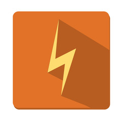 Vector flat design icon lightning, button, a symbol web