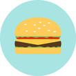 Vector flat hamburger fast food, unhealthy food, fat, tasty