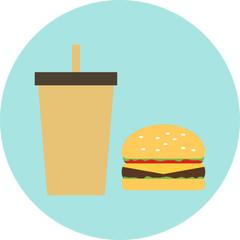 Vector  flat  hamburger with drink,  fast food, unhealthy