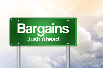 Bargains Just Ahead Green Road Sign concept