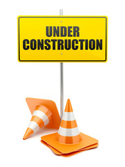 Under Construction road sign with traffic cones