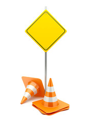 Road sign with traffic cones