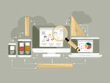 Flat design website analytics vector illustration - 75534783
