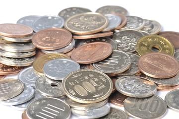 大量の日本円の硬貨