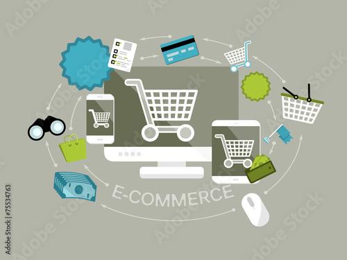 Fototapeta Flat design e-commerce vector illustration