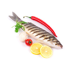 Grilled seabass fish.