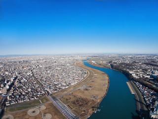 市川市上空から見る江戸川