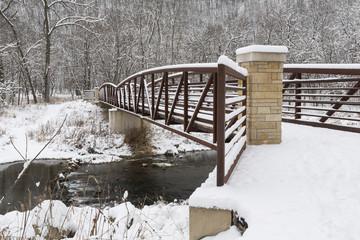 Winter Bridge Over River Scenic