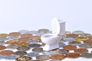 床に敷き詰められた小銭と洋式トイレの便器