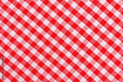 Foto op Canvas Stof Red and white checkered tablecloth