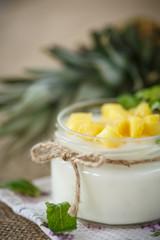 sweet homemade yogurt with pineapple