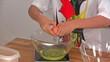children baking macaroons