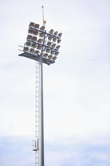 Stadium spotlights on daytime