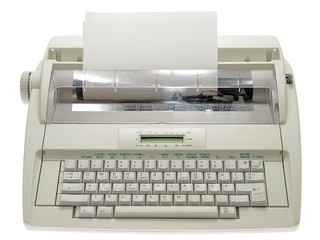 electric typewriter with paper