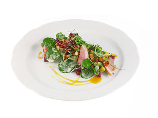 smoked duck with salad