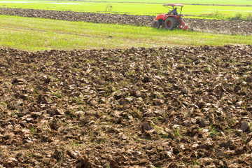 Men are driven tractors to plow soil preparation for planting
