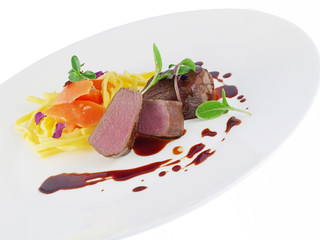venison with port wine sauce and noodles in cream