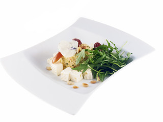 couscous with cheese and rocket salad