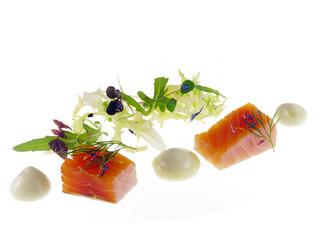 salmon with honey dill foam