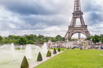 Paris, France. Amazing Eiffel Tower view from Trocadero Gardens