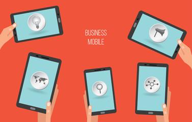 Mobile apps on tablets or smartphones, vector illustration