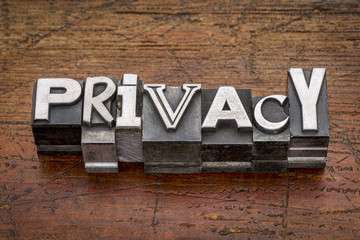 privacy word in metal type