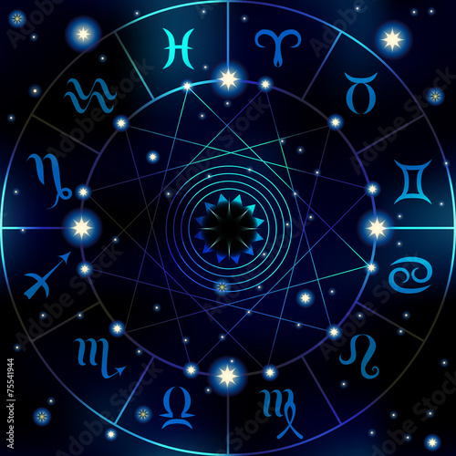 Circle with signs of zodiac - 75541944