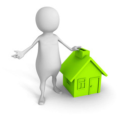 white 3d man with green house symbol. real estate concept