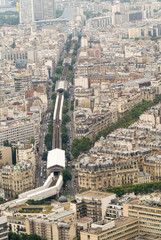 Paris, France. Aerial city view with buildings and railway