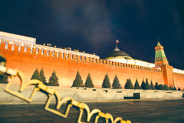 Brick wall of the Kremlin. Russia, Red Square