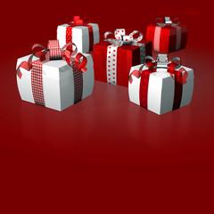 Dicke Geschenke Schleifen Polka Caro rot