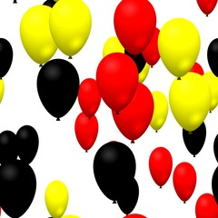 Red yellow black party balloons seamless pattern