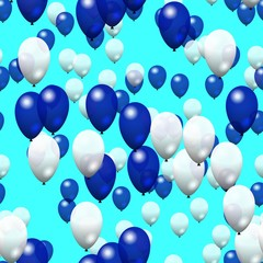 Blue white balloons pattern on bright blue background