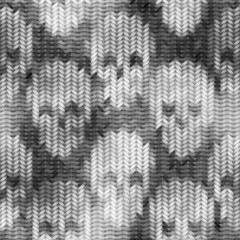 Knitted pattern with the skulls and melange effect
