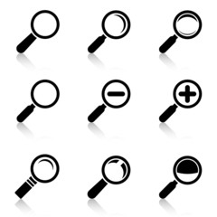 Magnifier Glass Icons with reflection