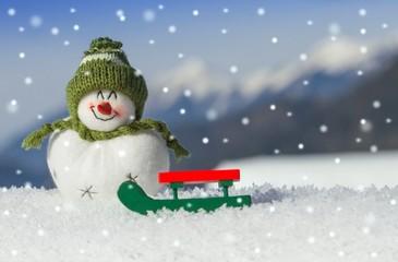 Schneemann bei Schneefall - Konzept
