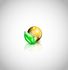 Abstract golden colored oil droplet icon