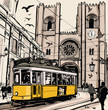 Typical tramway in Lisbon near Se cathedral - 75543593