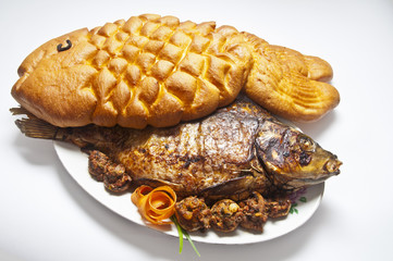 carp stuffed with bread in the form of fish