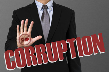 businessman say no on corruption .concept.