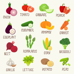 Vegetables vector icon set
