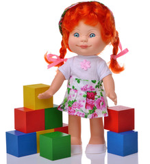 Ginger doll with cubes