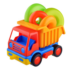 Toy car truck with rings