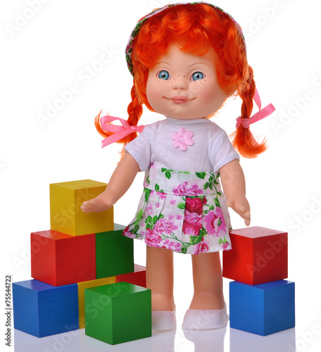Ginger doll with cubes - 75544722