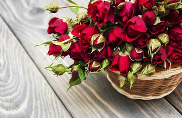 Red roses in basket