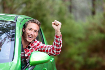 Green energy biofuel electric car driver happy